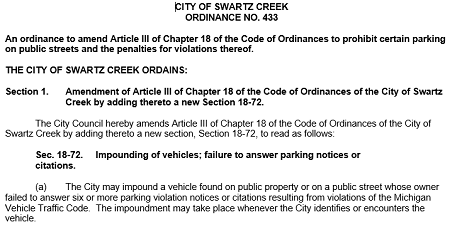 New City Street Parking Ordinance
